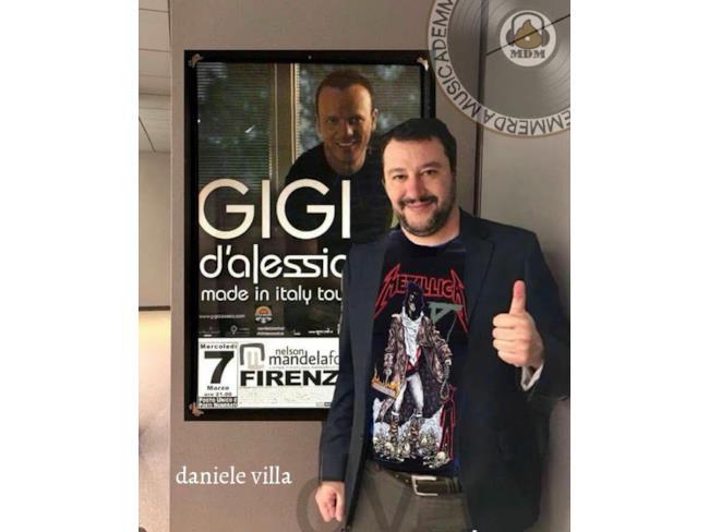 Meme di Salvini con poster di Gigi D'Alessio