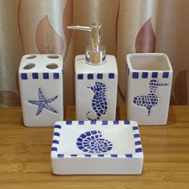 Accessori da bagno in ceramica stile marinaro
