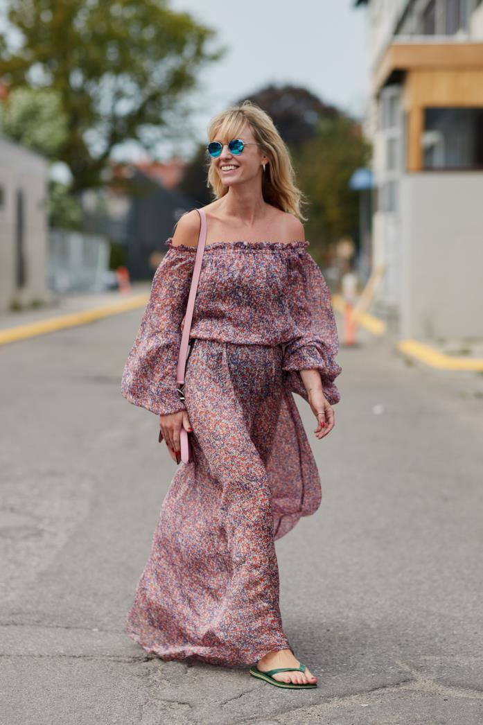 Long dress con motivo floreale