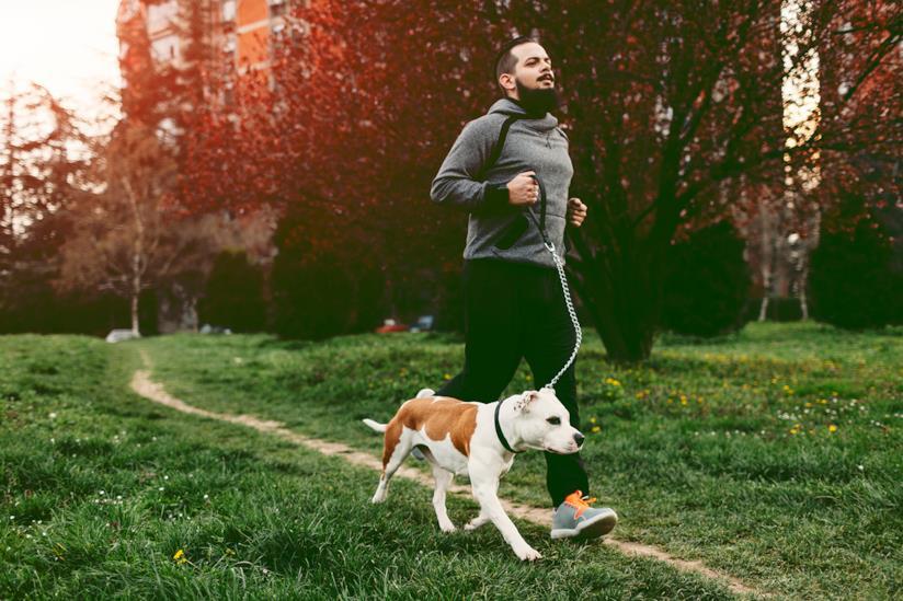 Ragazzo corre in parco con il cane