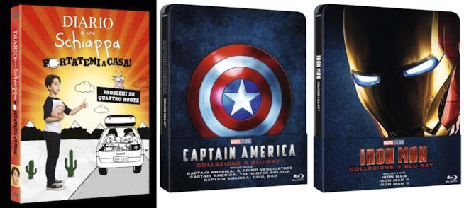cofanetti di film Diario di una schiappa, captain america, iron man