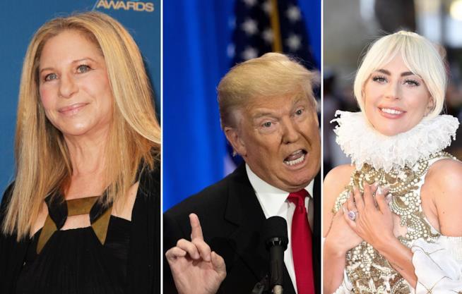 Barbra Streisand, il presidente Trump e Lady Gaga