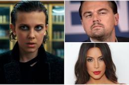 Collage tra Millie Bobby Brown, Leonardo DiCaprio e Kim Kardashian