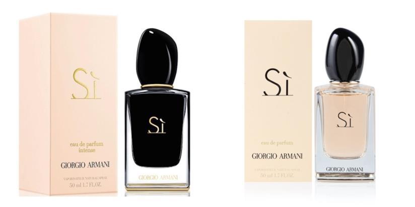 Il classico della collezione Armani Sì: l'eau de parfum e l'eau de parfum intense