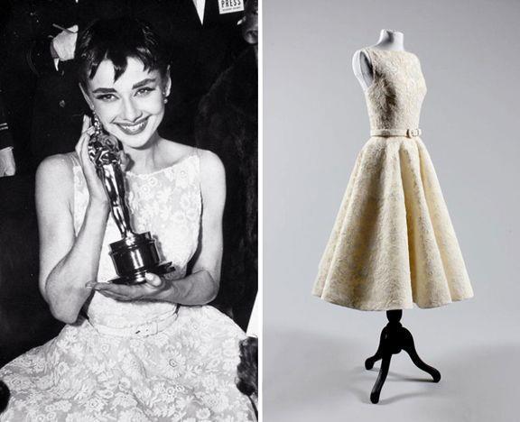 Collage tra Audrey Hepburn agli Oscar 1954 e l'abito