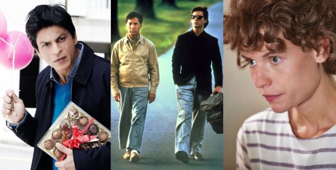 Tre fotogrammi dai film Il mio nome è Khan, Rain Man e Temple Grandin