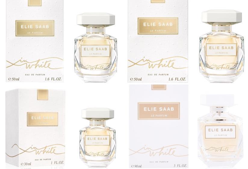 Le parfum in White, profumo da sposa di Elie Saab nei formati 30, 50, 90 ml.