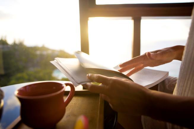 Dettaglio di mani che sfogliano un libro
