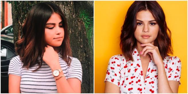 Un collage tra Selena Gomez e la sua sosia