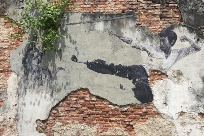 Street art con arti marziali