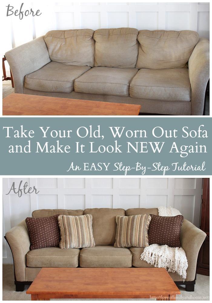 Il divano del soggiorno prima e dopo l'intervento di restauro