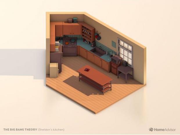 La piantina della cucina di The Big Bang Theory