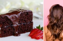 Collage tra capelli castani e torta cioccolato