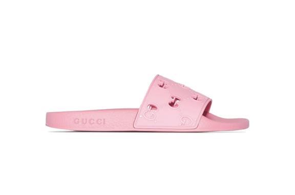 Ciabatte in gomma rosa di Gucci