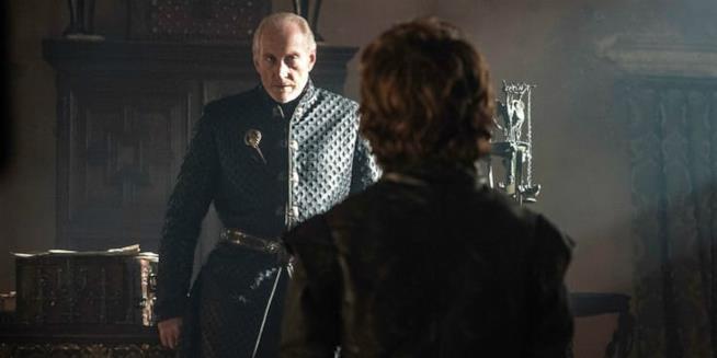 Tywin e Tyrion Lannister in una scena di Game of Thrones