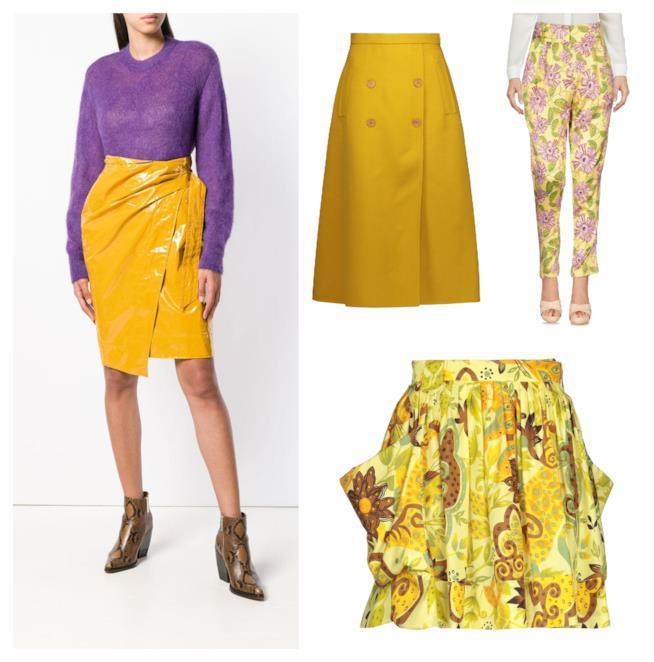 Gonne e pantaloni gialli di moda per l'A/I 2018-19