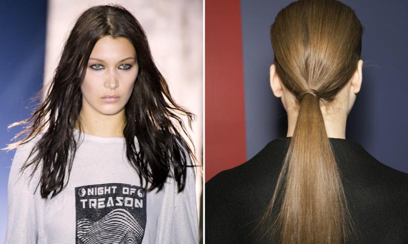 Collage tra ragazza con capelli sciolti e coda di cavallo