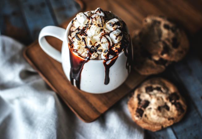 Tazza di cioccolata con biscotti