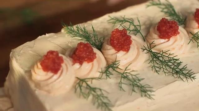 Foto della torta di salmone con l'aneto