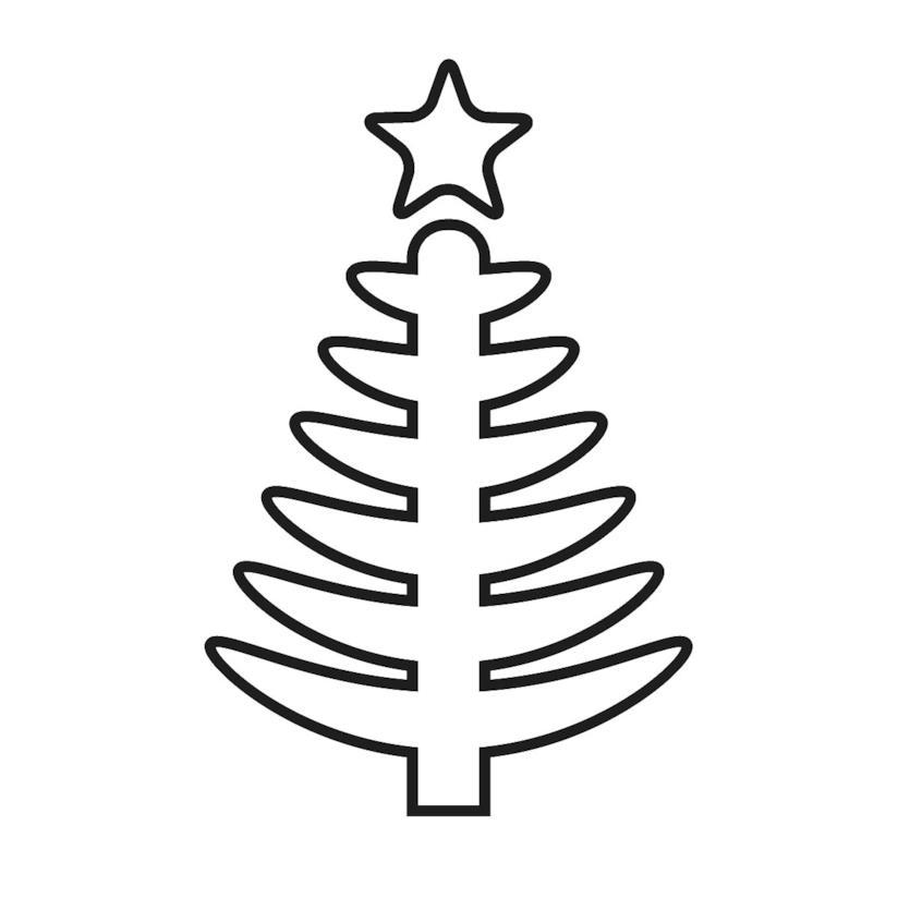 Albero di Natale con linee morbide da scaricare o stampare