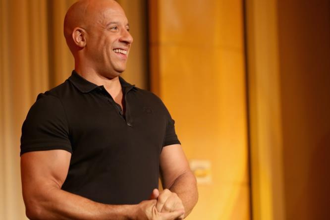 Vin Diesel ripreso durante un evento