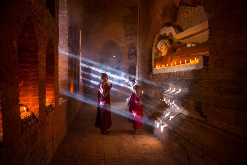 Giovane Monaci buddisti del Myanmar