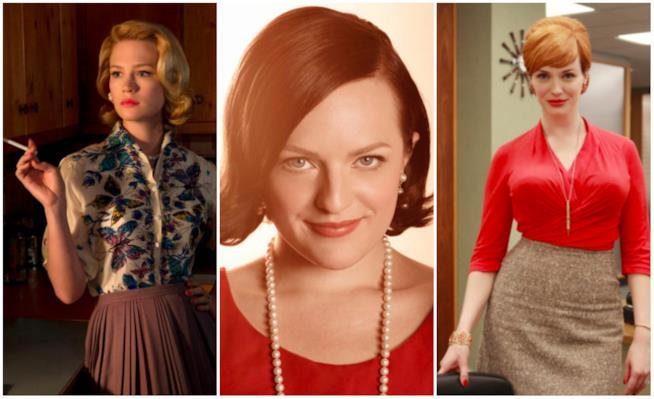 Un collage tra Betty Draper, Peggy Olson e Joan Harris