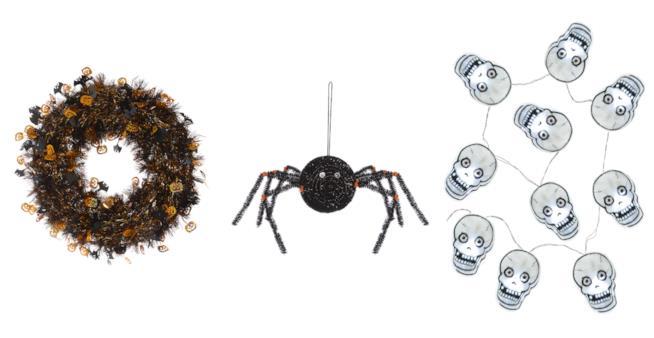 Una ghirlanda, un ragno finto e luci a forma di teschio - Primark