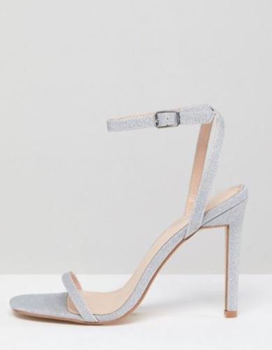 Sandali effetto nudo con tacco e glitter