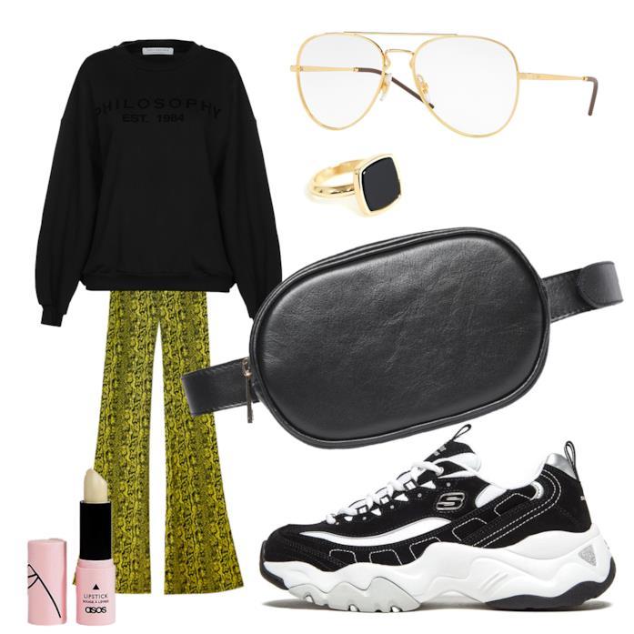 Outfit con il pantalone neon animalier