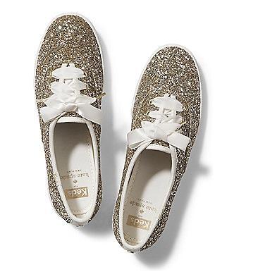 Le scarpe da sposa in glitter e oro di Kate Spade