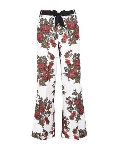 Pantaloni palazzo eleganti a fiori, bianco e rosso