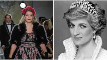 Kitty Spencer in passerella in un collage con Diana