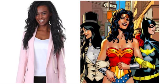 Un collage tra la giacca DC e le supereroine DC