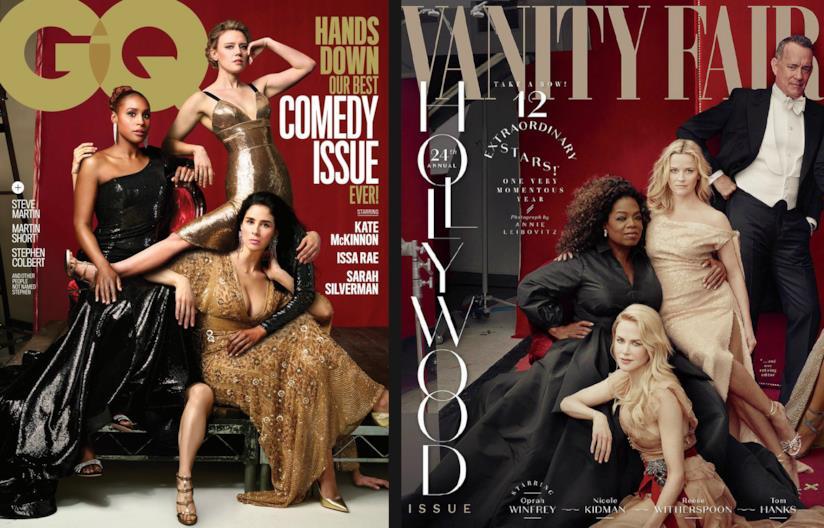 Due copertine delle riviste GQ e Vanity Fair