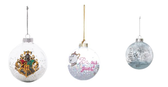 tre deorazioni per l'albero di Natale di Primark