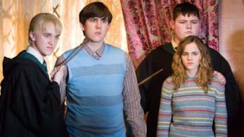 Emma Watson, Matthew lLewis e Tom Felton sul set di Harry Potter