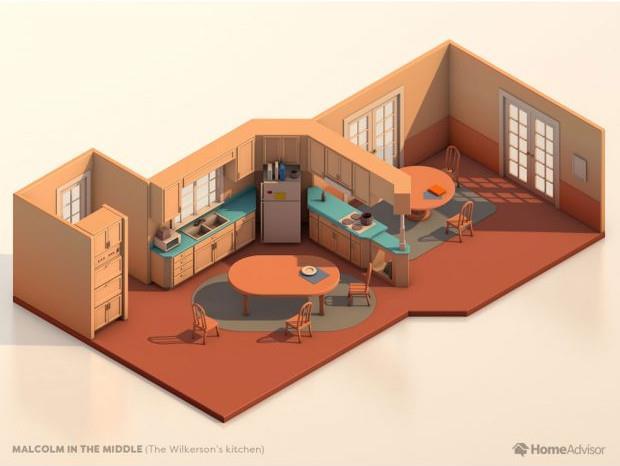 La piantina della cucina di Malcolm
