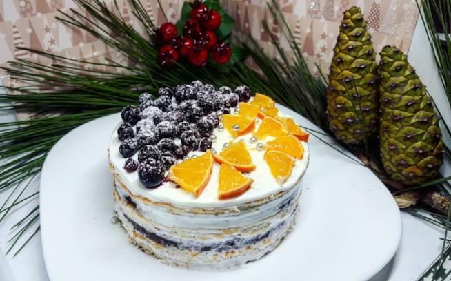 Torta con arance e mirtilli