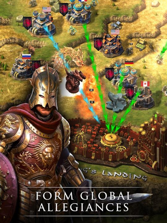 Un cavaliere Lannister con lo sfondo della guerra