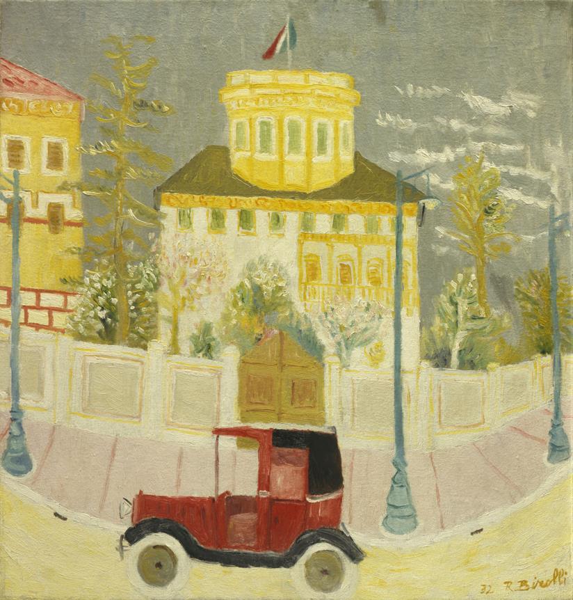 Renato Birolli, Tassì rosso, 1932 olio su tela, Collezione Giuseppe Iannaccone, Milano