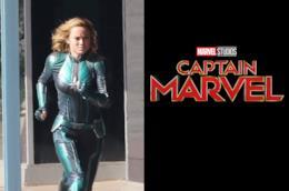 Una fotodal set di Captain Marvel con BrieLarson ed il teaser poster ufficiale