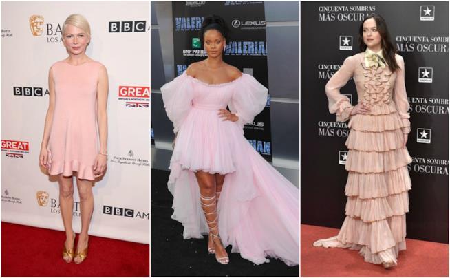 Le star con i vestiti rosa di haute couture