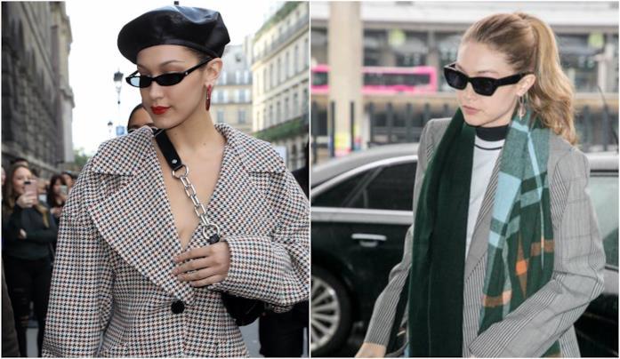 Bella e Gigi Hadid con giacche check