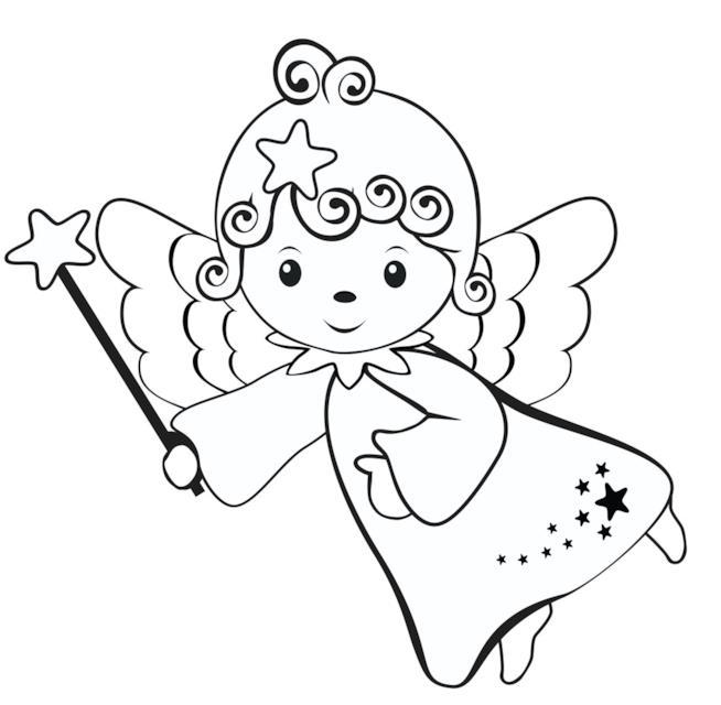 Angioletto volante con la bacchetta magica, da stampare e far colorare ai bambini