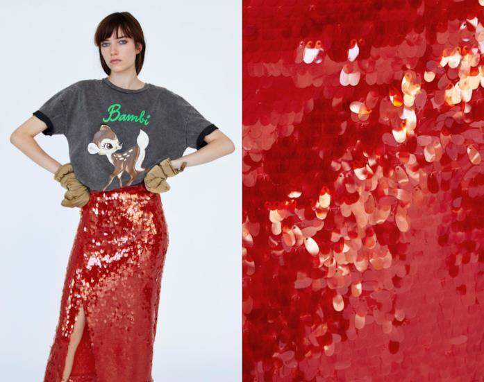 Gonna lunga rossa con le paillettes di moda