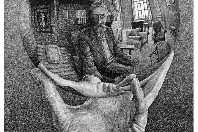 Maurits Cornelis Escher Mano con sfera riflettente 1935 Litografia, 31,1x21,3 cm Collezione privata U.S.A.