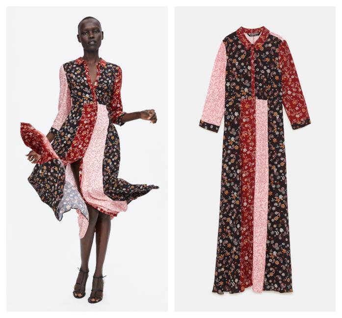 Vestito stampa patchwork tendenza folk