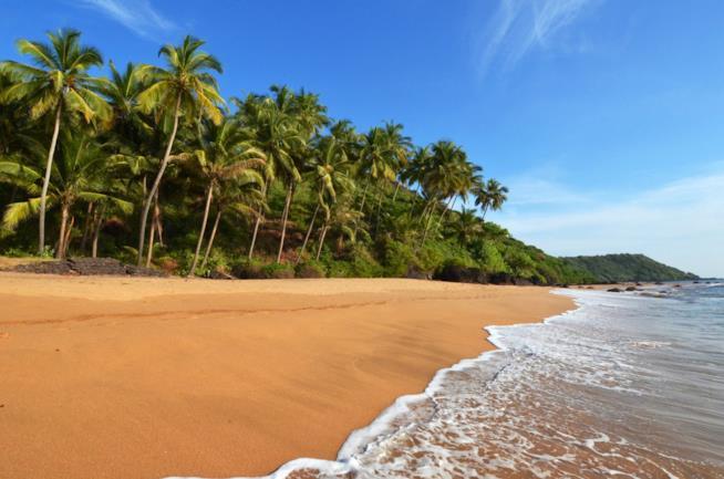 Una spiaggia di Goa in India