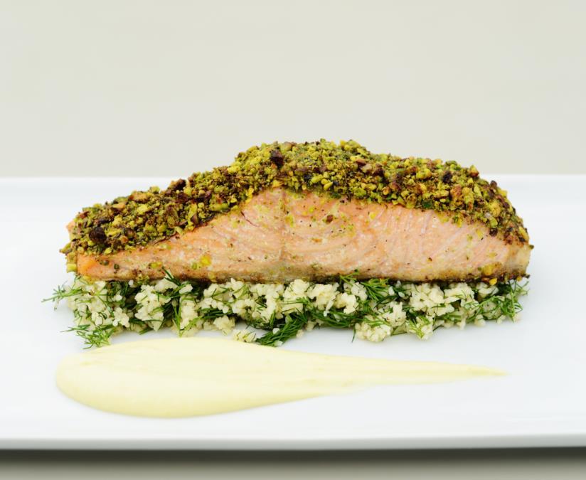 salmone gratinato al pistacchio, ricetta